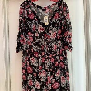 Torrid Black Floral Chiffon Shirt Dress NWT SZ 0